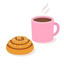 Coffee With Cinnamon Roll