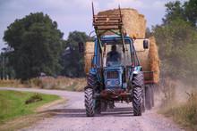 Haystacks On Tractor