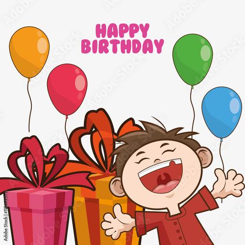 Kid Boy Gift Balloons Cartoon Scream Celebration Happy Birthday Icon Colorful Design Vector Illustration