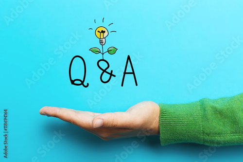 Photo  Q and A  concept with hand