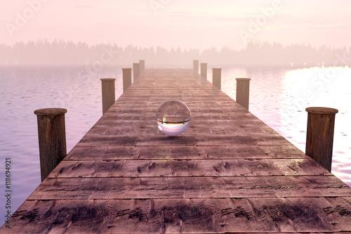 Fotografie, Obraz  Glaskugel auf Steg im wunderschönen Morgennebel