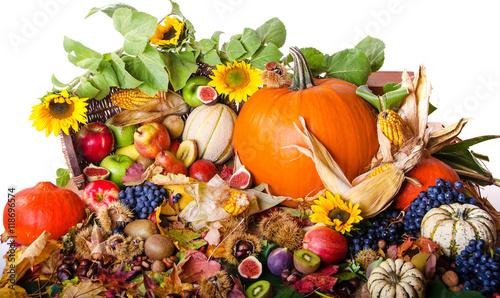 Erntedankfest, Goldener Herbst: Stillleben mit Früchten (Äpfel, Trauben, Kürbiss Canvas Print