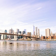 New York City skyline and Brooklyn Bridge, USA