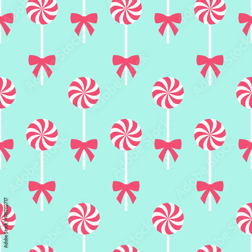 fototapeta na ścianę Seamless Christmas pattern with lollipops. Happy New Year and Merry Xmas background. Vector winter holidays print for textile, wallpaper, fabric, wallpaper.