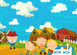 Cartoon funny and cheerful scene with happy farmers - illustration for children