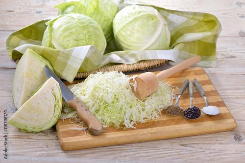 Weißkraut in Vorbereitung für die Herstellung von Sauerkraut  - German white cabbage in preparation for making sauerkraut
