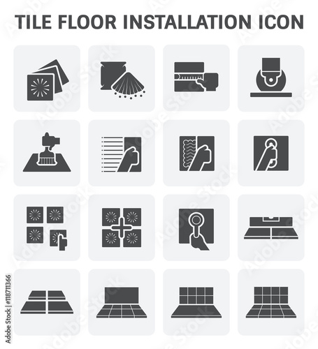 Icon Tile Work : Tile floor installation and material vector icon set