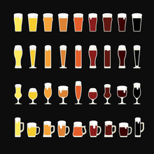 Rows Of Beer From Light To Dark In A Variety Of Glasses And Mugs. Beer Icons. Vector Illustration