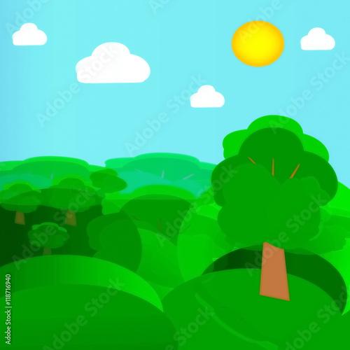 Tuinposter Turkoois иллюстрация летний пейзаж