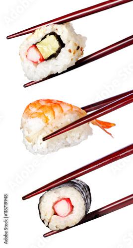 Deurstickers Sushi bar Nigiri sushi with chopsticks isolated on a white background