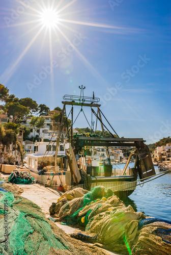Poster Amusementspark Spanien Mallorca Fischer Dorf Hafen Cala Figuera