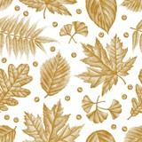 Engraving Leaves Seamless Pattern Vector Illustration  - 118722307