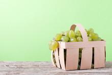 White Grape Harvest In A Wicke...