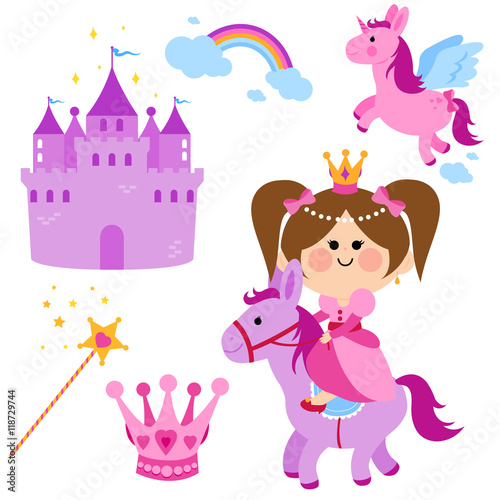 Deurstickers Pony Pretty fairy princess riding a horse, a castle, unicorn, rainbow, crown and magic wand vector set