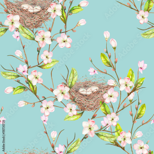 Cotton fabric Seamless pattern of the watercolor bird nests on the tree branches with spring flowers, hand drawn on a blue background