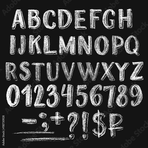 Fotografiet Sans serif chalk roman alphabet