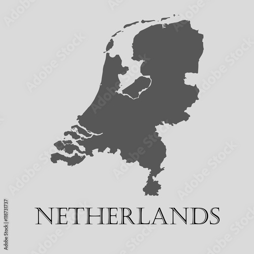 Gray Netherlands map - vector illustration Wallpaper Mural