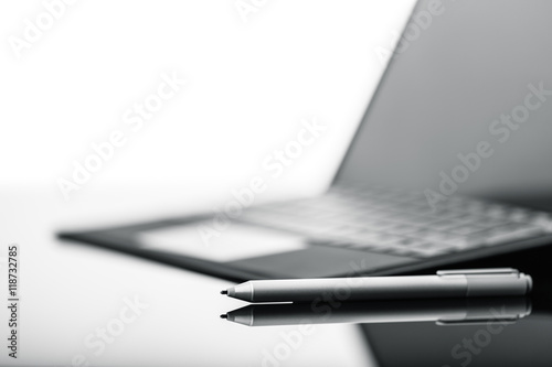 Tablet pen and  keyboard detail