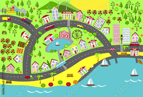 Urban landscape. Map design for mats, books, and childish development.