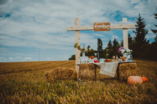 Field, A Makeshift Table Wine, Pumpkin, Autumn