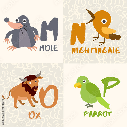 Image of: Letter Cute Animal Alphabet Set Letter Mnop Vector Illustration Adobe Stock Cute Animal Alphabet Set Letter Mnop Vector Illustration