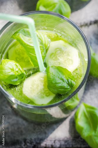 Fototapeta Green smoothie fresh cucumbers celery basil obraz na płótnie