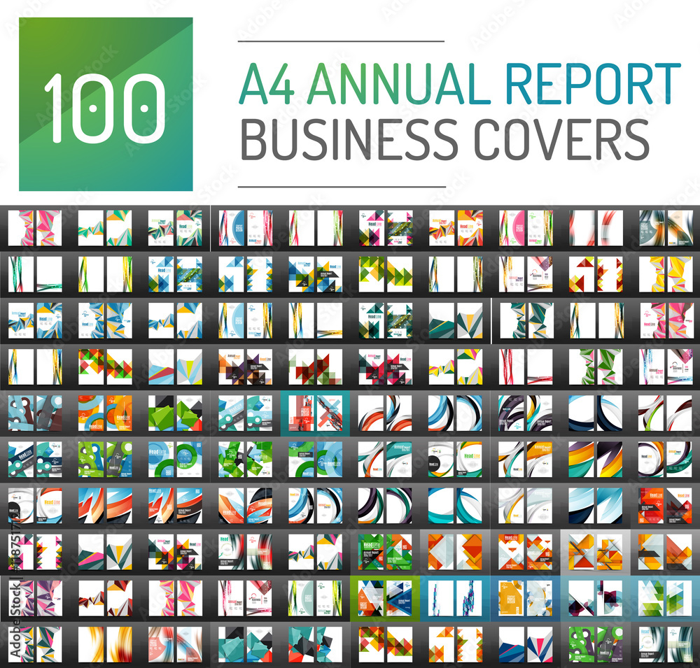 Fototapeta Mega collection of 100 business annual report brochure templates