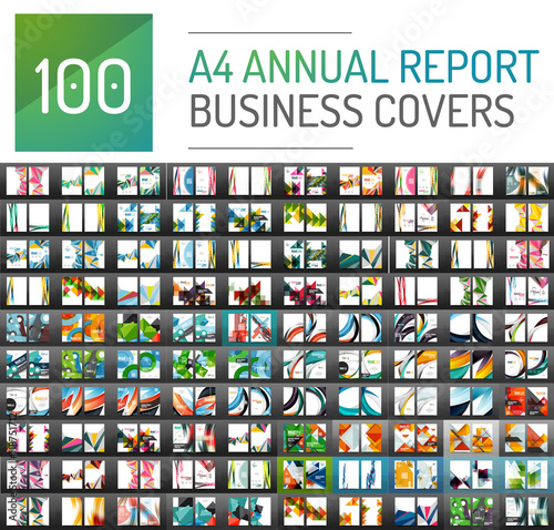 Fototapeta Mega collection of 100 business annual report brochure templates obraz
