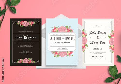 Wedding Invitation Set Buy This Stock Template And Explore - Wedding invitation set templates