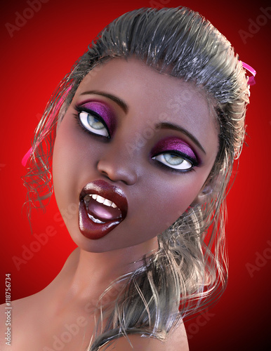Portrait of dark-skinned girl with big green eyes and bright makeup. The doll face. Conceptual fashion art. Studio, high key.