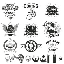 Set Of The Boxing Club Labels, Emblems And Design Elements.