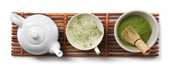 FototapetaGreen matcha tea set on white background