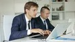 two glad business male assistants wearing formalwear working together using laptops in company office