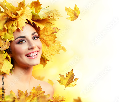 Fototapety, obrazy: Fall Woman Smiling With Yellow Hairstyle