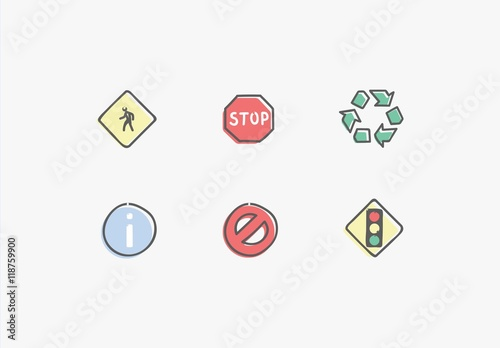 Signs Symbols Set Buy This Stock Template And Explore Similar