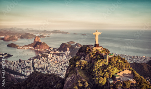 Poster Chocoladebruin Aerial panorama of Botafogo Bay and Sugar Loaf Mountain, Rio De