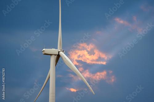 Fotografie, Obraz  Wind Turbine at Dusk