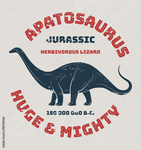 Photo  Apatosaurus t-shirt design, print, typography, label
