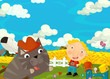 Cartoon happy and funny scene with boy and cat - friends - talking together - illustration for children