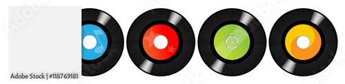 Fotografía  45 rpm vinyls and white sleeve / 45 tours avec pochette vierge