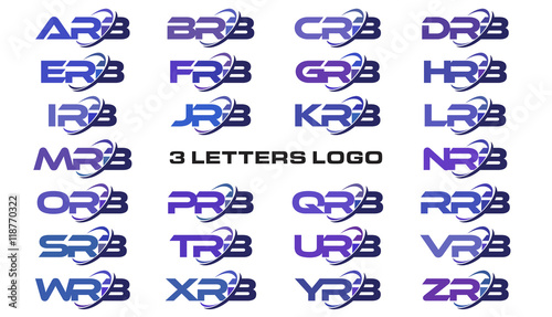 3 letters modern swoosh logo ARB, BRB, CRB, DRB, ERB, FRB, GRB, HRB, IRB, JRB, K Wallpaper Mural