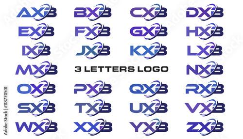 3 letters modern swoosh logo AXB, BXB, CXB, DXB, EXB, FXB, GXB, HXB, IXB, JXB, K Canvas Print