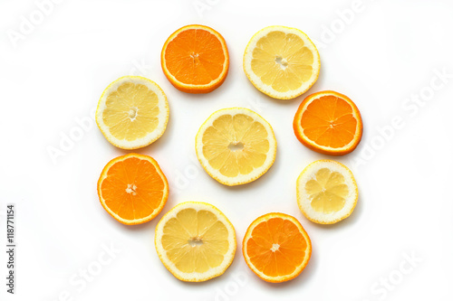 Fototapety, obrazy: Citrus fruits. Citrus fruits with green leaves. Citrus fruits is