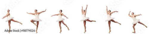 Fototapeta Man in ballet tutu isolated on white