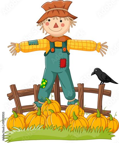 Obraz na plátně Cartoon scarecrow character