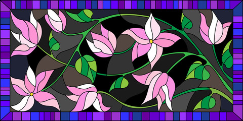 Panel Szklany Podświetlane Abstrakcja Illustration in stained glass style, the branch with flowers on a dark background