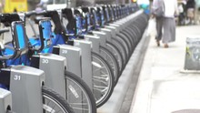 New York City Bike Sharing System Of Parked Rental Bicycles