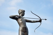 Statue Of Huntress Diana With Blue Sky