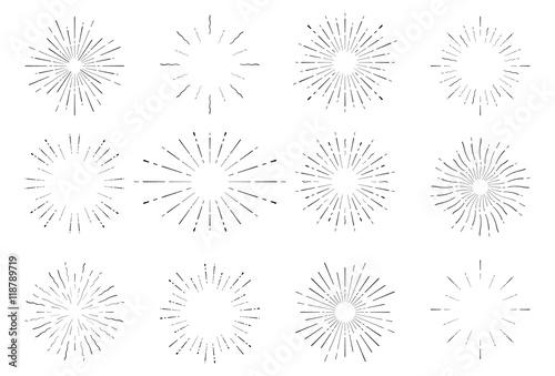Papiers peints Retro Sunburst vintage hand drawn explosion spark set. Old retro bursting diamond line sun rays.