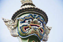 Head Of Thai Giant Demon Statue Or Yak Guardian